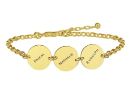 Names4ever Gouden Armband met Drie Rondjes GNA66