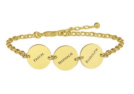 Names4ever Gouden Armband met Drie Rondjes GNA66