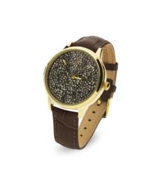 Spark Horloge met Bruine Swarovski Kristallen