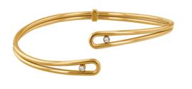 Edelstalen Goudkleurige Cuff Armband met Zirkonia's van Tommy Hilfiger