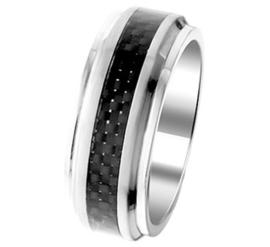 Brede Graveer Heren Ring van Edelstaal met Slanke Carbon Strook