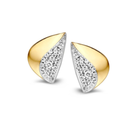 Excellent Jewelry Elegante Bicolor Oorstekers met Zirkonia's