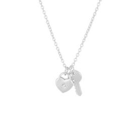 Zilveren Collier met Hart en Sleutel