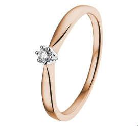 Slanke Bicolor Ring met Transparante Diamant