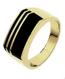 Brede Geelgouden Ring met Zwarte Onyx