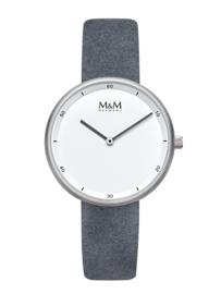 M&M Horloge met Zilverkleurige Kast en Donkergrijze Horlogeband