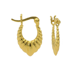 Geribbelde Druppelvormige Oorringen Goudkleurige Coating   Karma Jewelry
