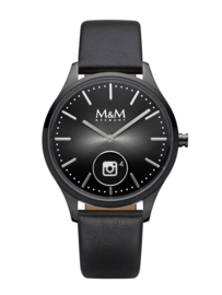 Zwart Hybrid Smart Watch met Zwart Lederen Band van M&M