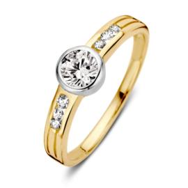 Excellent Jewelry Vlakke Geelgouden Ring met Witgouden Zirkonia Kopstuk
