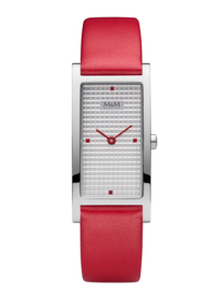 Rechthoekig M&M Horloge voor Dames met Rood Lederen Horlogeband
