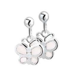 Witte Parelmoer Zilveren Vlinder Oorhangers voor Kinderen