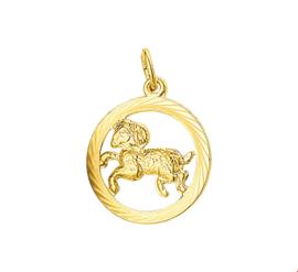 Gouden Hanger Sterrenbeeld Ram Gediamanteerd