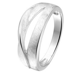 Gescratchte Ring van Gerhodineerd Zilver met Uitsparing