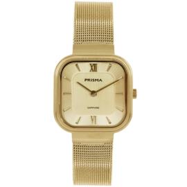 Prisma Goudkleurig Vierkant Dames Horloge