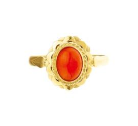 Vintage Gouden Ring met Bloedkoraal Steen
