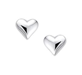 Moderne Hart Oorknoppen van Gepolijst Zilver