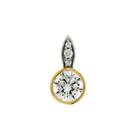 Excellent Jewelry Bicolor Hanger met Meerdere Zirkonia's