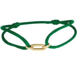 Groene Satijnen Armband met Brede Gouden Schakel