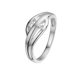 Glanzende Zilveren Ring met Meerdere Zirkonia's