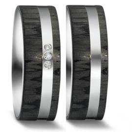 Brede Vlakke Carbon Trouwringen Set met Zilver en Drie Diamanten