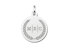 Zilveren Initialen Letter Hanger met Krans en Drie Letters | Names4ever