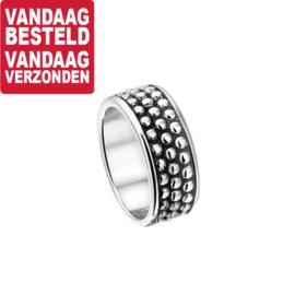 Zilveren Dames Ring met Geoxideerd Vlak / Ringmaat 17,2