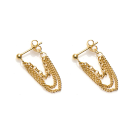 Gold Plated Silver Multi Chain Oorstekers van Karma