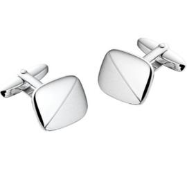 Vierkante Manchetknopen met Geronde Hoeken van Mat met Gepolijst Zilver