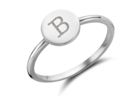 Disc Zilveren Ring met Initiaal | Names4ever