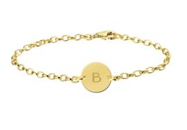 Gouden Names4ever Armband met Ronde Letterhanger