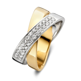 Excellent Jewelry Bicolor Overlappende Ring met 0,36 crt. Briljant