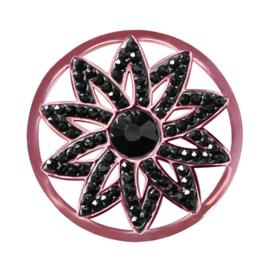LOCKits Roségoudkleurige Bloem Munt van Edelstaal met Zwarte Zirkonia's 33mm