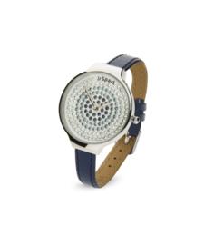 Spotty Horloge met Blauw Lederen Horlogeband van Spark
