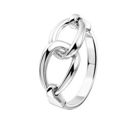 Schakels Dames Ring van Zilver / Maat 17,2