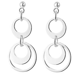 Dubbele Cirkel Hanger Oorhangers van Gerhodineerd Zilver