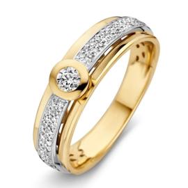 Excellent Jewelry Geelgouden Dames Ring met Witgouden Strook