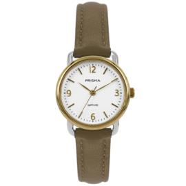 Prisma Goudkleurig Dames Horloge met Lichtbruine Horlogeband