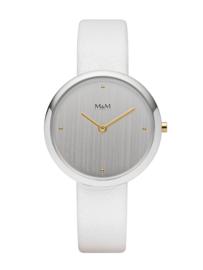 Basic Dames Horloge met Wit Lederen Horlogeband van M&M