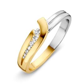 Excellent Jewelry Bicolor Ring met Opengewerkte Zirkonia Strook