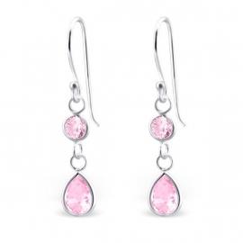 Zilveren Oorhangers met Roze Zirkonia's