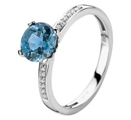 Witgouden Ring met London Blue Topaas en Diamanten