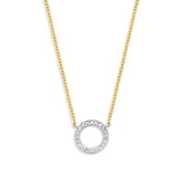 Excellent Jewelry Geelgouden Collier met Witgouden Diamant Cirkel
