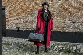Shelby Brothers Dames Tas Zwart Leder met  Grijs Tweed
