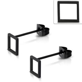 Vierkante Opengewerkte Edelstalen Oorknopjes 8mm