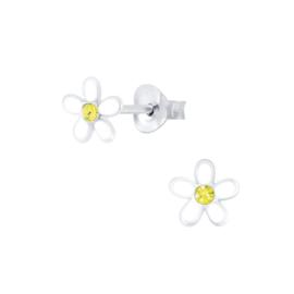 Zilveren Witte Bloem Kinderoorbellen