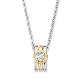 Excellent Jewelry Zilveren Collier met Geelgouden Zirkonia Hanger
