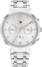 Tommy Hilfiger Zilverkleurig Dames Horloge met Zirkonia's
