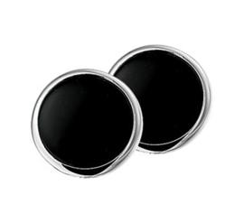 Gepolijste Ronde Oorclips van Zilver met Zwarte Onyx Steen