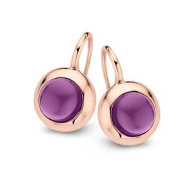 Excellent Jewelry Roségouden Oorhangers met Amethist Edelsteen