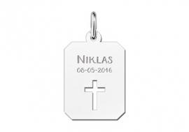 Names4ever Zilveren Naamhanger met Kruis